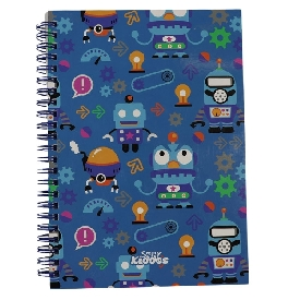 Robot in blue notebook