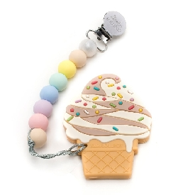 Chocolate ice cream silicone teether holder set - cotton candy