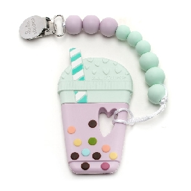Taro bubble tea silicone teether holder set - lilac mint