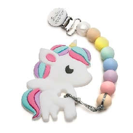 Rainbow unicorn silicone teether holder set - cotton candy