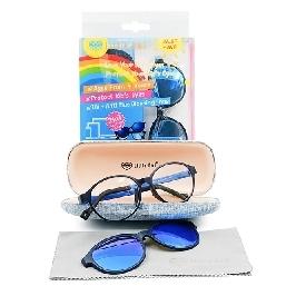แว่นตากรองแสงสีฟ้าสำหรับเด็กรุ่น 2in1- สีดำ/น้ำเงิน (ทรงรี)