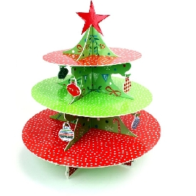 Three tier cake stand jolly santa