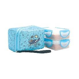 กล่องข้าวพลาสติกสี่เหลี่ยม ลายโลมา