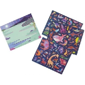 3d reusable sticker pad - habitats animals
