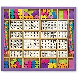Wooden bead set - alphabet