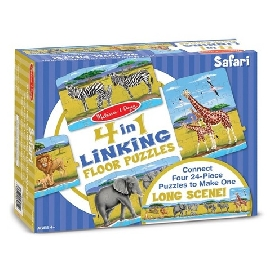 4-in-1 linking floor puzzle -  safari