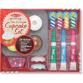 Wooden bake & decorate cupcake set