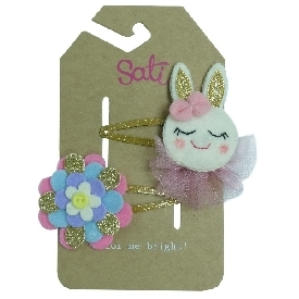 Sati fca058 hair clip a rabbit with flower