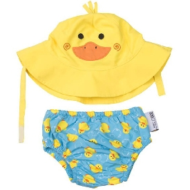 Baby Swim Diaper & Sun Hat Set - Duck