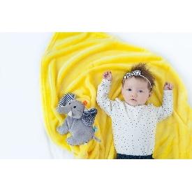 ผ้าห่มเนื้อนิ่มพร้อมตุ๊กตา - สีเหลือง/ช้าง