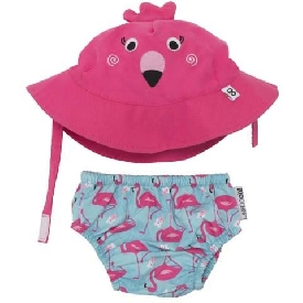 Baby swim diaper & sun hat set - flamingo