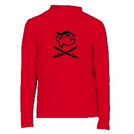 เสื้อกันยูวีแขนยาวเด็กโตสีแดง