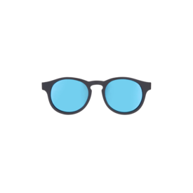 Black keyhole with blue mirrored lenses (the agent)