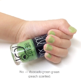 Little heart nail color avocado green glitter scented 48
