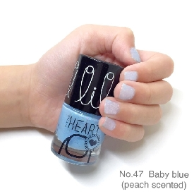 Little heart nail color baby blue glitter scented 47