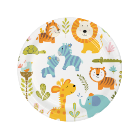 Party Paper Plate 9 inches - Colorful Animals