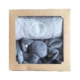 ชุดของขวัญเสื้อเด็ก และผ้าช้างน้อย- สีขาว