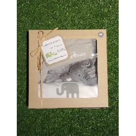Onesie grey elephant-beanie-doudou set new born