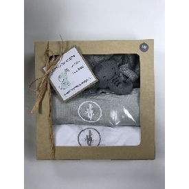 ชุดของขวัญเสื้อกิโมโนเด็กสีเทา สีขาว  และผ้าช้างน้อย