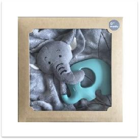 Elephant doudou with aqua elephant teether