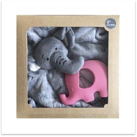 Elephant doudou with pink elephant teether