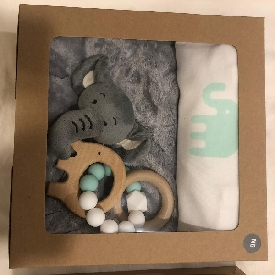 Newborn giftset aqua onesie with doudou and teether