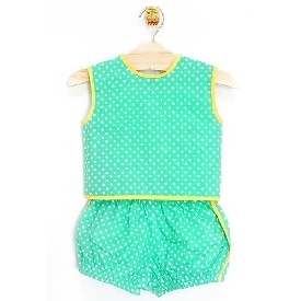 Casper pinafore & short green with white polka dots