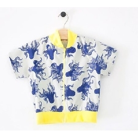 Martin zipper shirt blue octopus