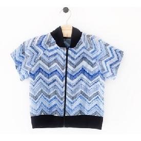 Martin zipper shirt blue zigzag