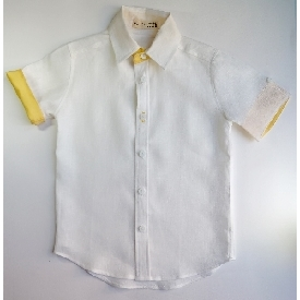 FABIO Linen Boy Shirt-White