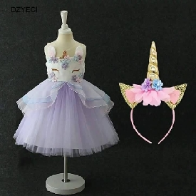 Unicorn dress with horn size 120 (purple)