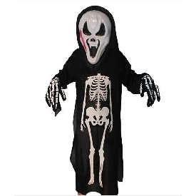 Halloween skeleton with mask and gloves