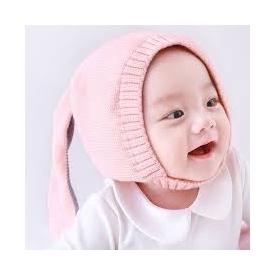 Baby pink rabbit wool hat