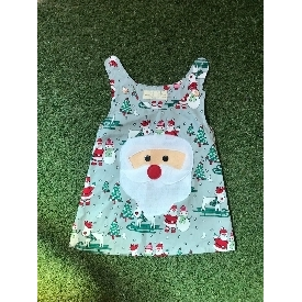 Santa girl dress - green