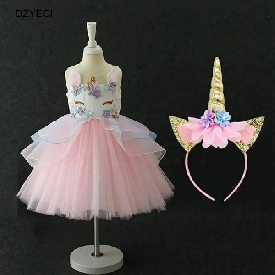 Unicorn dress with horn size 110 (pink)