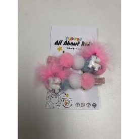 Pink dancing unicorn hair clips