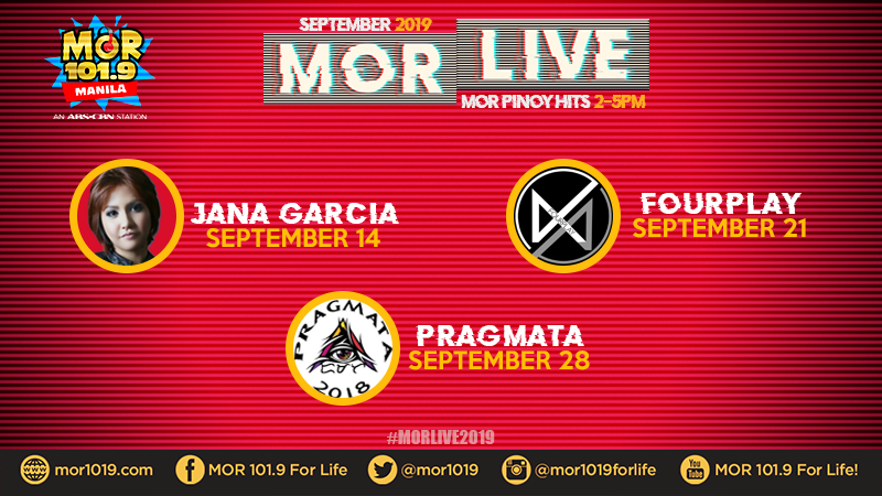 MOR Manila's featured artists for September 2019 on #MORLive!