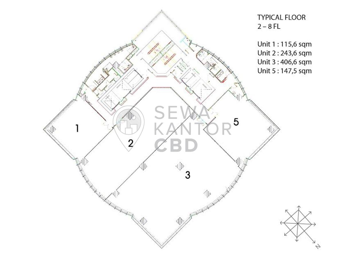 Sewa Kantor Gedung GKM Tower Jakarta Selatan Jagakarsa TB Simatupang Jakarta Floor Plans 1