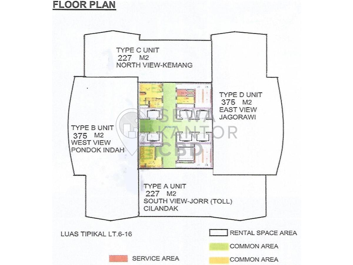 Sewa Kantor Gedung Menara 165 Jakarta Selatan  TB Simatupang Jakarta Floor Plan