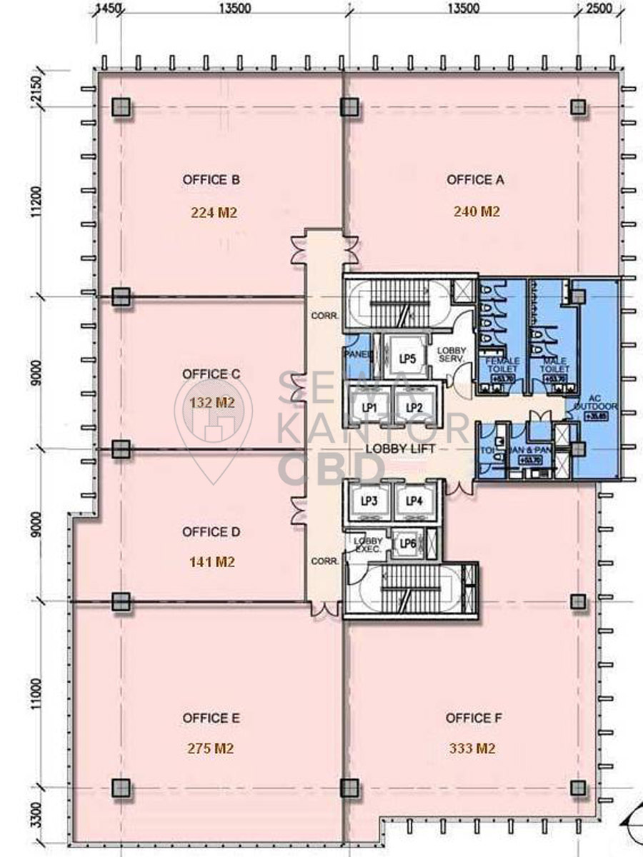 Sewa Kantor Gedung Graha Kirana Jakarta Utara Tanjung Priok  Jakarta Floor Plan