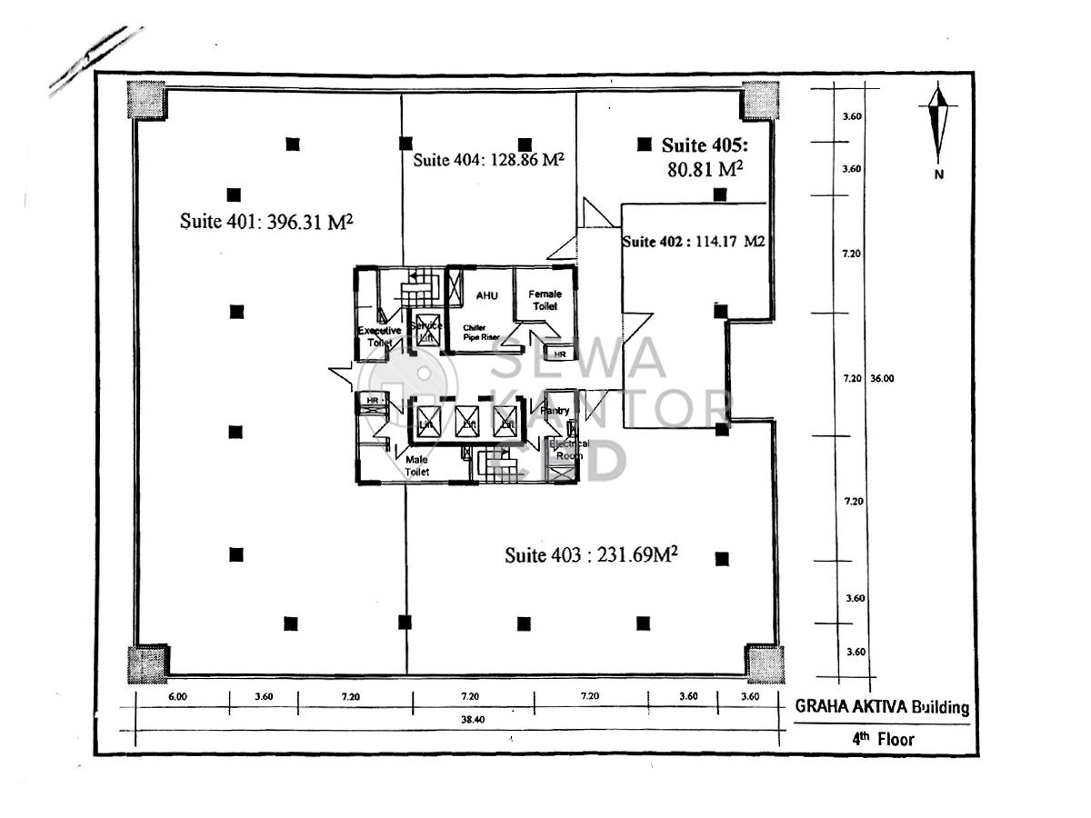 Sewa kantor graha aktiva jakarta selatan office space for Floor plans for 160 000