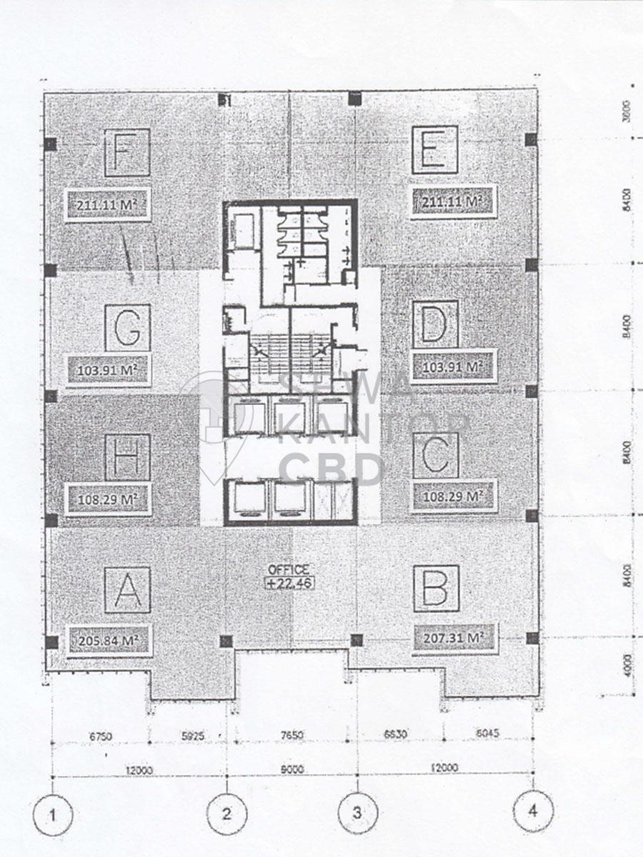 Sewa Kantor Gedung Dipo Tower Jakarta Pusat Tanah Abang  Jakarta Floor Plan