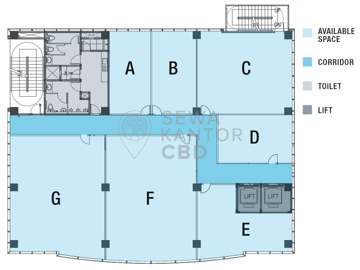 Sewa Kantor Gedung Gedung UNIFAM Jakarta Barat Kebon Jeruk  Jakarta Floor Plan