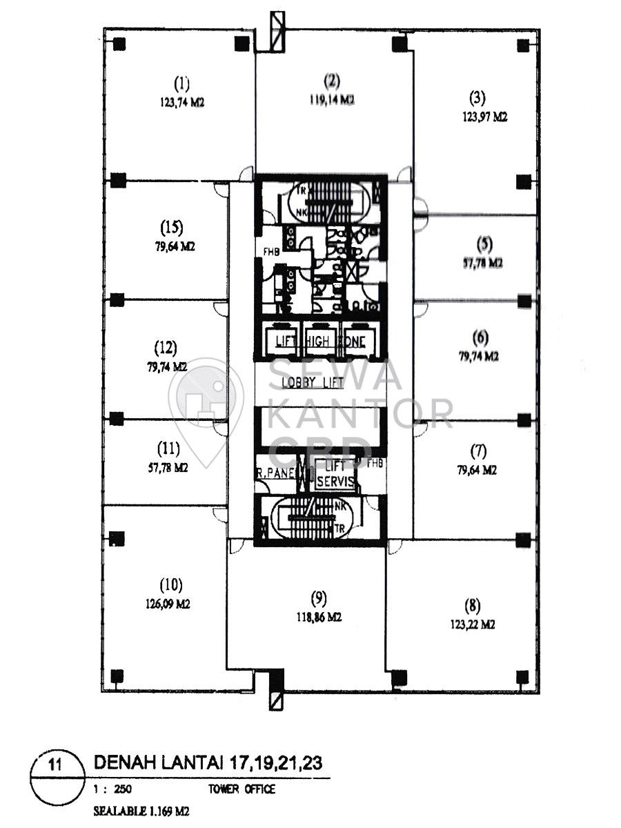 Sewa Kantor Gedung ITS Office Tower Jakarta Selatan Pancoran  Jakarta Floor Plan