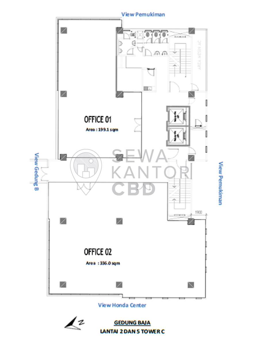 Sewa Kantor Gedung Gedung Baja Tower C Jakarta Pusat Sawah Besar  Jakarta Floor Plans 1