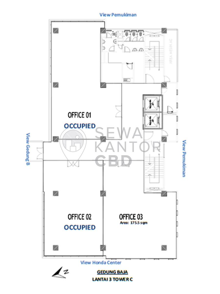 Sewa Kantor Gedung Gedung Baja Tower C Jakarta Pusat Sawah Besar  Jakarta Floor Plan