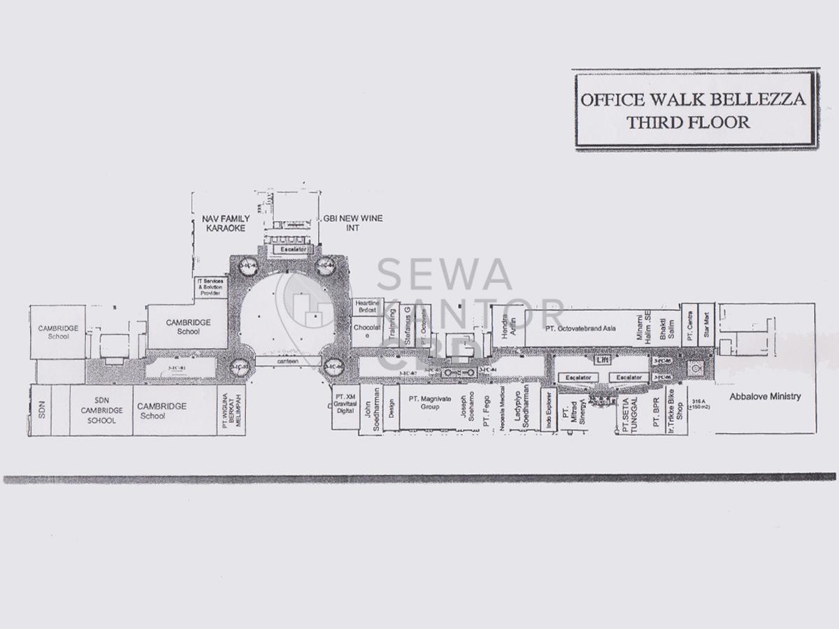 Sewa Kantor Gedung Bellezza Shopping Arcade Jakarta Selatan Kebayoran Lama  Jakarta Floor Plan