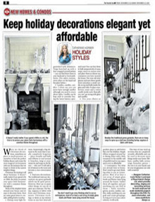 Keep Holiday Decorations Elegant Yet Affordable - Newspaper mentions for Royal Interior Design Ltd.