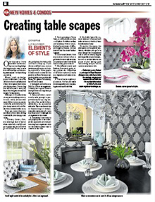 Creating Table Scapes - Newspaper mentions for Royal Interior Design Ltd.