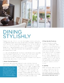 Dining Stylishly - Magazine mentions for Royal Interior Design Ltd.